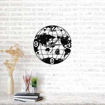 Ceas decorativ pentru perete, Ocean, metal 100 procente, 50 x 50 cm, 874OCN2004, Negru