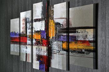 Tablou decorativ, Vega, Canvas 100 procente, lemn 100 procente, 2 piese, 105 x 70 cm, 265VGA1176, Multicolor