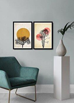 Tablou decorativ, Alpyros, MDF 100 procente, PVC100 procente, 2 piese, 74 x 51 cm, 841APY2105, Multicolor