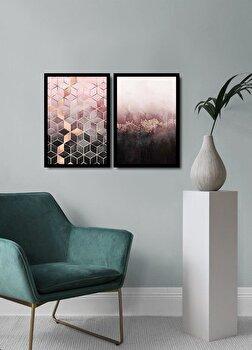 Tablou decorativ, Alpyros, MDF 100 procente, PVC100 procente, 2 piese, 74 x 51 cm, 841APY2115, Multicolor elefant