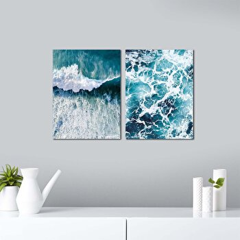 Tablou decorativ, Onno, MDF 100 procente, 2 piese, 62 x 40 cm, 264ONN2104, Multicolor