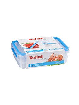 Set caserole TEFAL Clip&Close, 2 x 0.6 L, plastic, K3028812, Albastru
