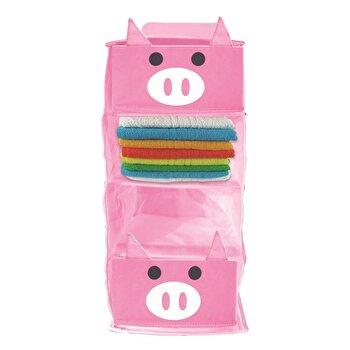 Organizator cu 4 rafturi Jocca Pig, polietilena, Roz imagine