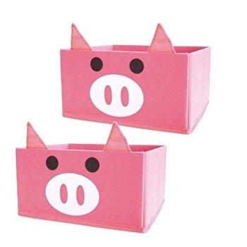 Cutie de depozitare Jocca Pig, forma de porc, plastic/lemn, Roz