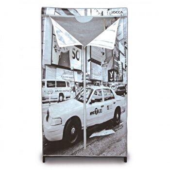 Dulap pentru haine Jocca New York, textil, 87 x 46 x 156 cm, Gri imagine