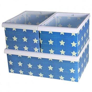 Set de 3 cutii Jocca, pentru organizare, design stele, Albastru/Alb imagine