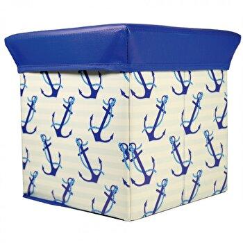 Taburet cu spatiu de depozitare Jocca Anchor, cu capac, PVC, 30 cm, Albastru imagine