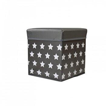 Taburet cu spatiu de depozitare Jocca Stars, cu capac, PVC, 30 cm, Gri imagine