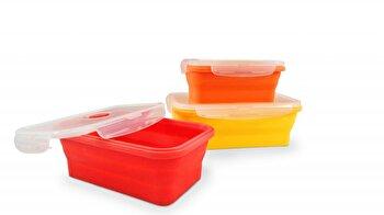 Set 3 cutii alimentare pliabile Jocca, din silicon, Multicolor