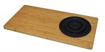 Tocator Jocca bambus, cu palnie din silicon, 29 x 59 x 1.8 cm, Negru imagine