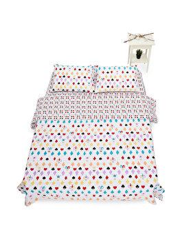Lenjerie de pat pentru 2 persoane Heinner Home, bumbac, 4 piese, model carti de joc,, HR-KGBED144-CRD, Multicolor imagine