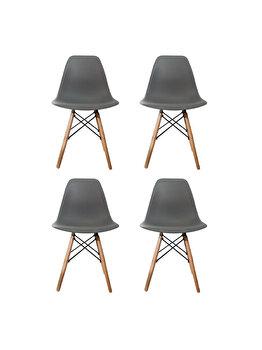 Set 4 scaune Truly Heinner Home, sezut plastic, picioare lemn, HR-SCHRTRLY-GRI, Gri