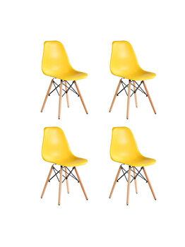 Set 4 scaune Truly Heinner Home, sezut plastic, picioare lemn, HR-SCHRTRLY-YLW, Galben elefant
