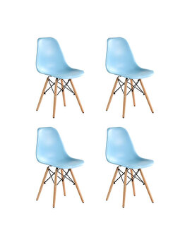 Set 4 scaune Truly Heinner Home, sezut plastic, picioare lemn, HR-SCHRTRLY-BLU, Albastru imagine 2021
