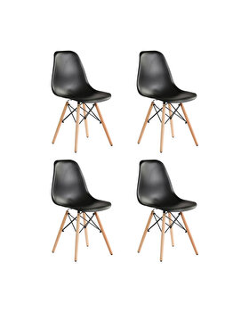 Set 4 scaune Truly Heinner Home, sezut plastic, picioare lemn, HR-SCHRTRLY-BLK, Negru imagine
