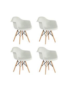 Set 4 scaune Cosy Heinner Home, sezut plastic, picioare lemn, HR-SCHRCOSY-WHT, Alb