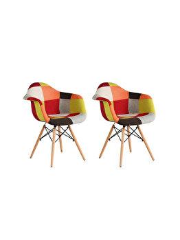 Set 2 scaune tapitate Cosy Orange Heinner Home, picioare din lemn, HR-SCHRCOSY-ORG, Multicolor imagine 2021