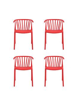 Set 4 scaune Carlo Heinner Home, plastic, HR-SCHRCRL-RED, Rosu