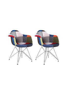 Set 2 scaune tapitate Cosy Rainbow Heinner Home, picioare din lemn, HR-SCHRCOSY-RWB, Multicolor