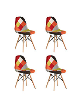 Set 4 scaune tapitate Heinner Home Truly Patch Checker, picioare din lemn, HR-SCHTRLPH-ORG, Multicolor imagine 2021