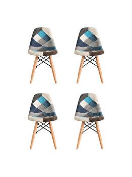 Set 4 scaune tapitate Heinner Home Truly Patch Checker, picioare din lemn, HR-SCHTRLPH-SKY, Multicolor imagine