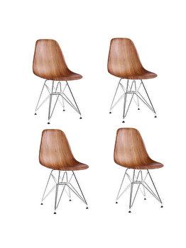 Set 4 scaune Heinner Home, plastic, lemn, HR-SCHRML-WD, Maro imagine
