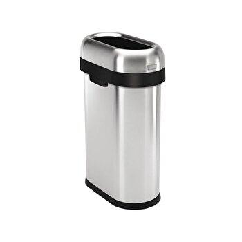 Cos de gunoi SimpleHuman, fara capac, 50 L Slim, inox, CW1467, Argintiu imagine