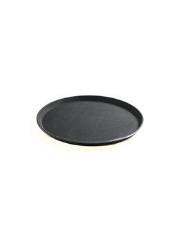 Tava servire rotunda , Hendi, suprafata cauciuc anti-alunecare, 36 cm, 878132, polipropilena, Negru elefant