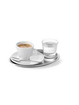 Tava servire cafea si aperitive, Hendi , ovala, 28.5 x 22 cm, 405307, inox, Gri