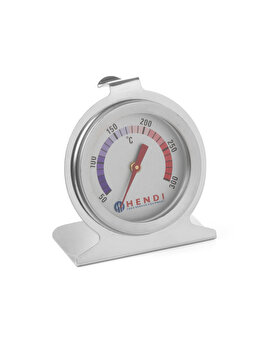 Termometru pentru cuptor Hendi, otel inoxidabil, 50/300 grade C, 6 x 7 cm, 271179, Alb