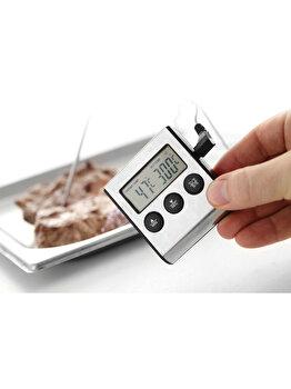 Termometru digital cu timer de bucatarie, Hendi, otel inoxidabil, 271346, Gri