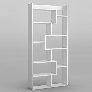 Biblioteca, Kalune Design, 90 x 182 x 22 cm, pal melaminat, 854KLN3602, Alb