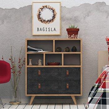 Comoda, Mod Design, 70 x 40 x 85.6 cm, pal melaminat, 811MDD3415, Negru/Maro