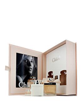 Set cadou Chloe (Apa de parfum 75 ml + Lotiune de corp 100 ml + Apa de parfum 5 ml), pentru femei imagine