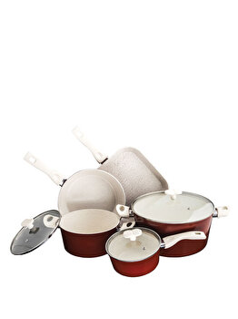 Set gatit Cooking by Heinner Marlene, 8 piese, 8 l, ceramica si marmura, HR-BET-BR008, Rosu imagine
