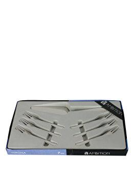 Set sapte tacamuri, pentru desert - Verona, Ambition, 89583, Argintiu elefant