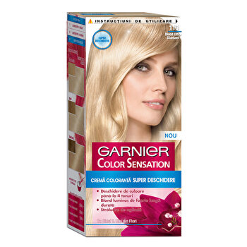 Vopsea de par permanenta cu amoniac Garnier Color Sensation Color Sensation cu pigmenti intensi 110 Blond Ultra Diamant imagine produs