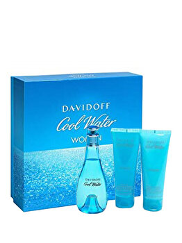 Set cadou Davidoff Cool Water (Apa de toaleta 100 ml + Lotiune de corp 75 ml + Gel de dus 75 ml), pentru femei imagine produs