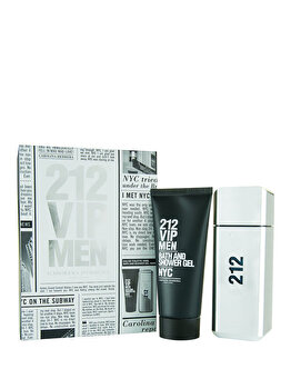 Set cadou Carolina Herrera 212 VIP (Apa de toaleta 100 ml + Gel de dus 100 ml), pentru barbati imagine produs