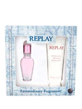 Set cadou Replay Jeans Spirit (Apa de toaleta 20 ml + Lotiune de corp 100 ml), pentru femei imagine produs