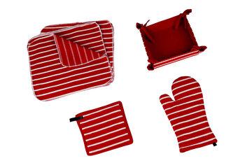 Set bucatarie 15 piese (cos de paine - 20x20cm + manusa bucatarie - 20x32cm + suport oala - 20x20cm + servete bucatarie - 35x35cm), Heinner, HR-KS15-RED, 100 procente bumbac