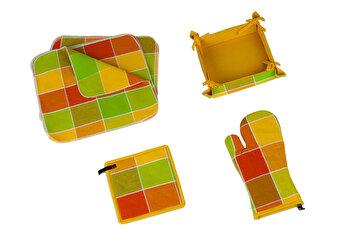 Set bucatarie 15 piese, Heinner, HR-KS15-GRN,35 x 35 cm, bumbac, Multicolor