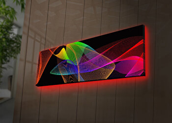 Tablou decorativ canvas cu leduri Ledda, 254LED3258, Multicolor elefant