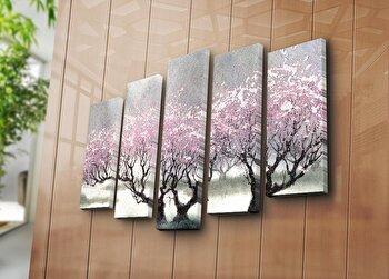 Tablou decorativ canvas (5 Piese) Horizon, 237HRZ4256, Multicolor elefant