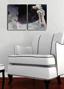Tablou decorativ cu ceas Clock Art, 228CLA2634, Multicolor elefant