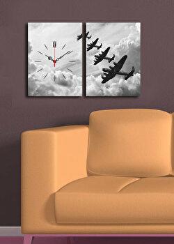 Tablou decorativ cu ceas Clock Art, 228CLA2638, Multicolor elefant