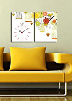 Tablou decorativ cu ceas Clock Art, 228CLA2639, Multicolor
