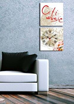 Tablou decorativ cu ceas Clock Art, 228CLA2614, Multicolor