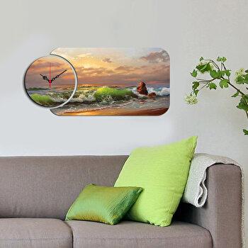 Ceas decorativ de perete (2 Piese) Home Art, 238HMA5105, Multicolor