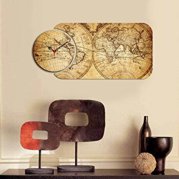 Ceas decorativ de perete (2 Piese) Home Art, 238HMA5142, Multicolor imagine